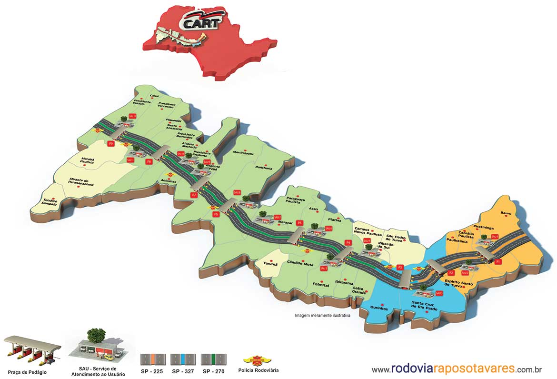 Mapa de pedágios na Raposo Tavares