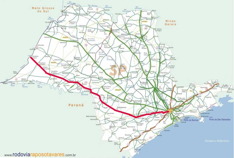 Mapa da Raposo Tavares em todos os municípios